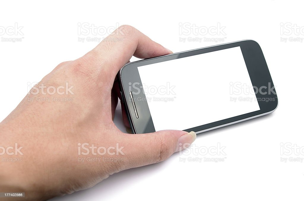 Hand and mobile phone stock photo