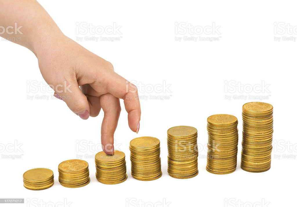 Hand and money staircase royalty-free stock photo