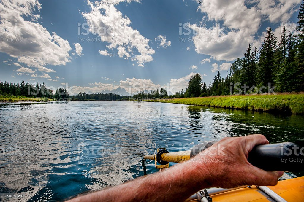 Hand and Oar, Yellowstone River and Grand Tetons, Montana stock photo