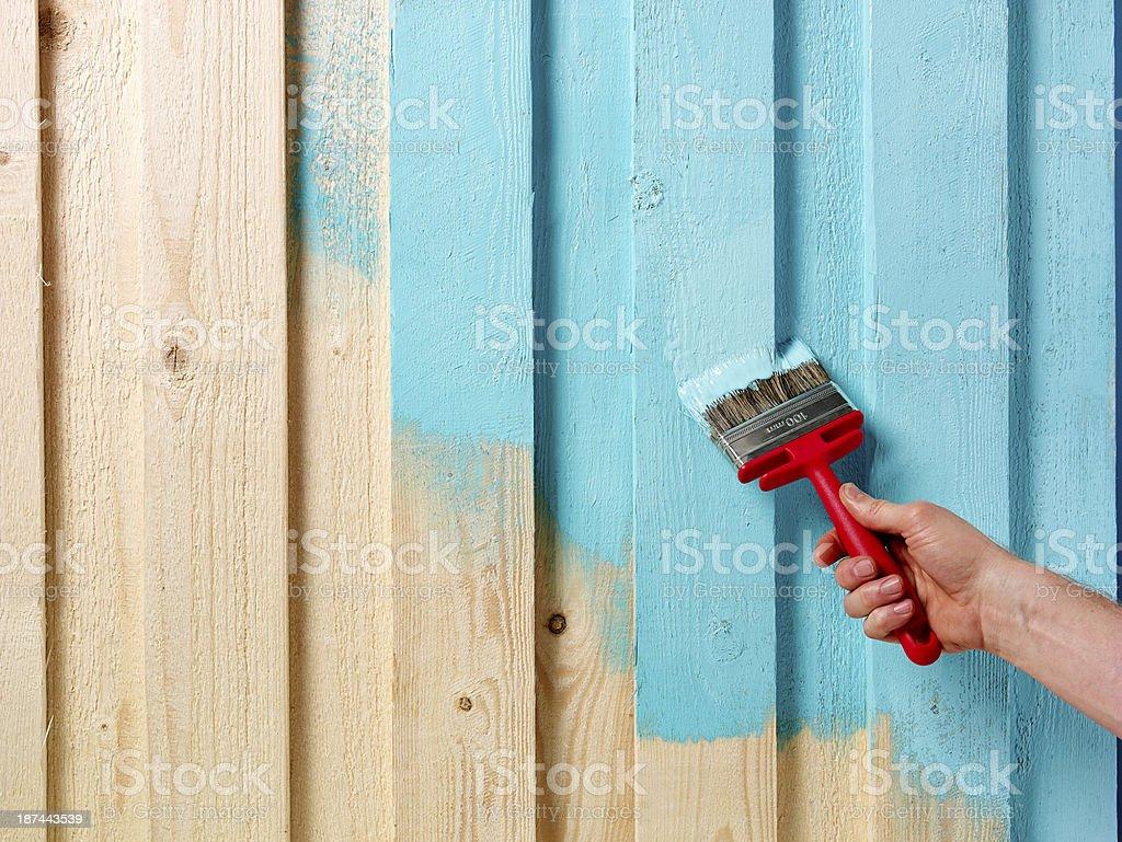 Hand and paintbrush stock photo