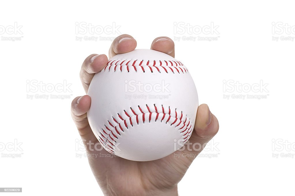 Hand and the baseball ball stock photo