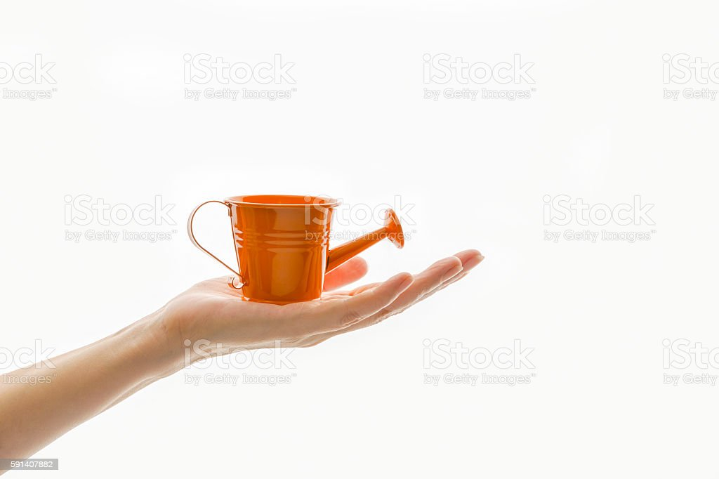 Hand and watering can stock photo