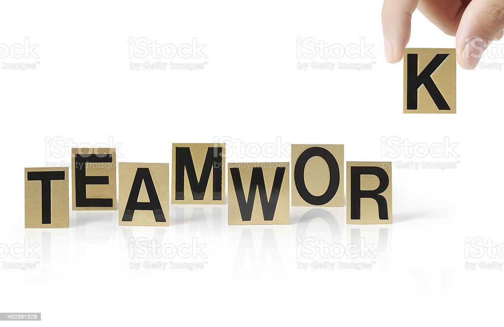 Hand and word Teamwork royalty-free stock photo