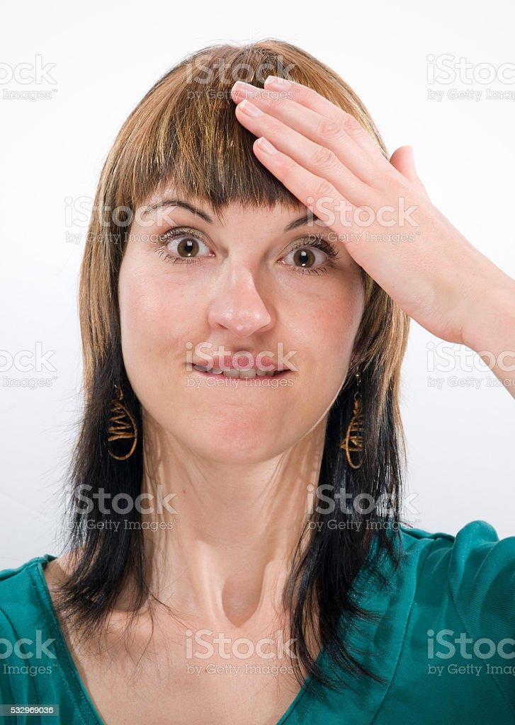 hand at the head direktly stock photo