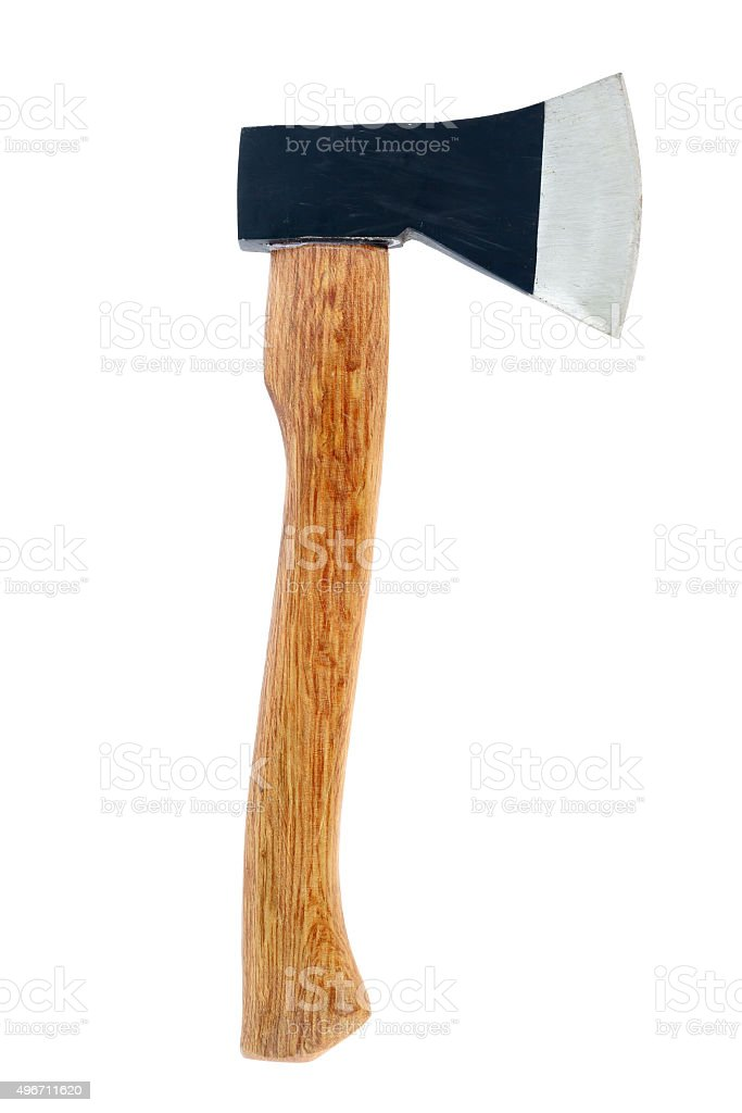Hand axe isolated on white stock photo