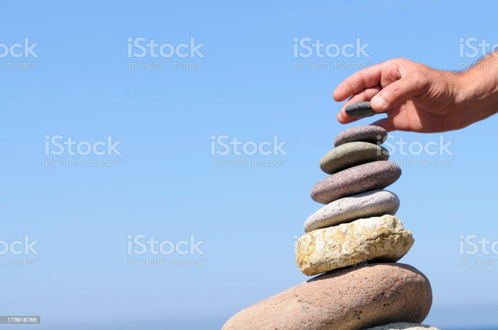 Hand  Balancing Stones royalty-free stock photo