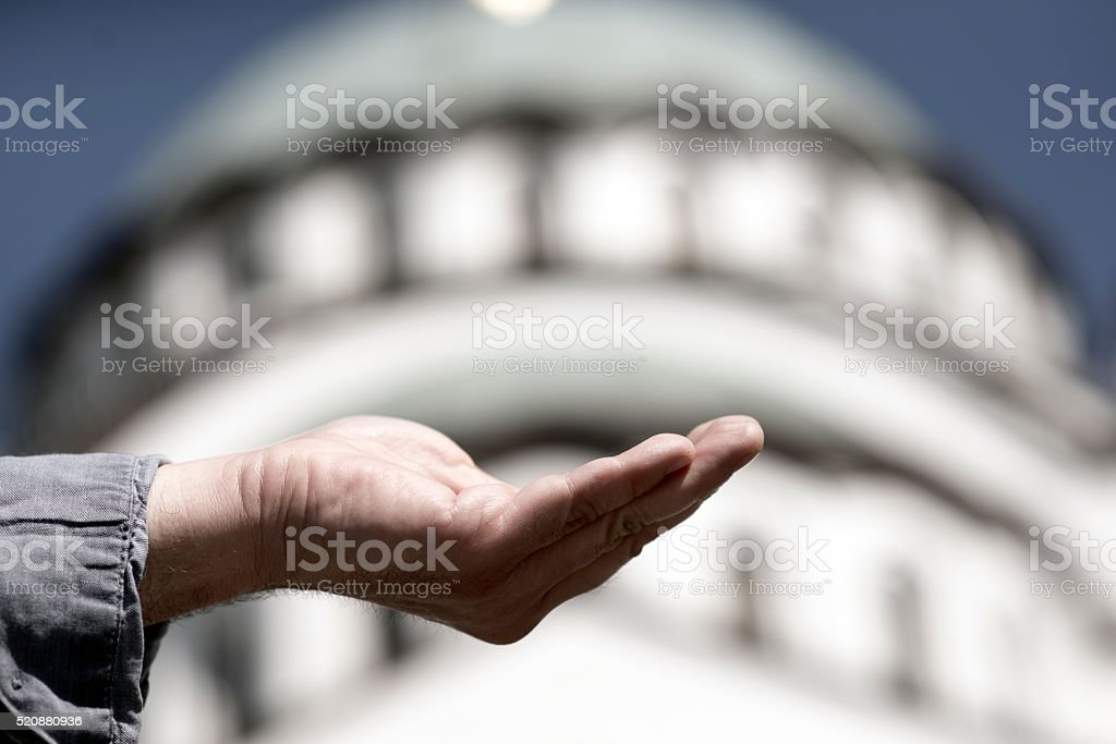 hand begging for food or help, Poverty stock photo