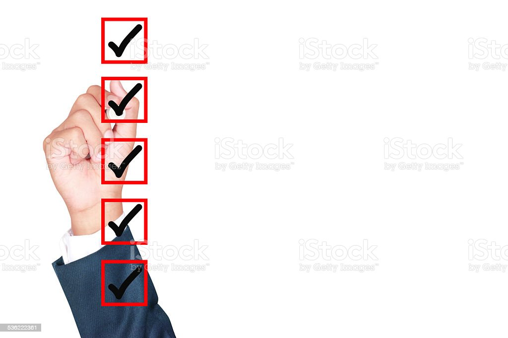 Hand Business man tick check box stock photo