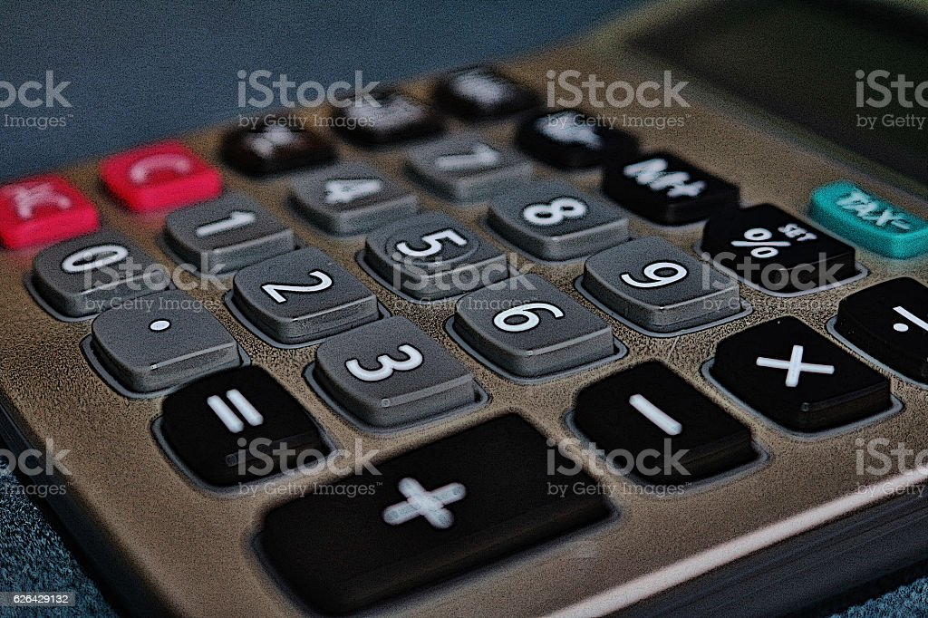 Hand calculator close-up stock photo