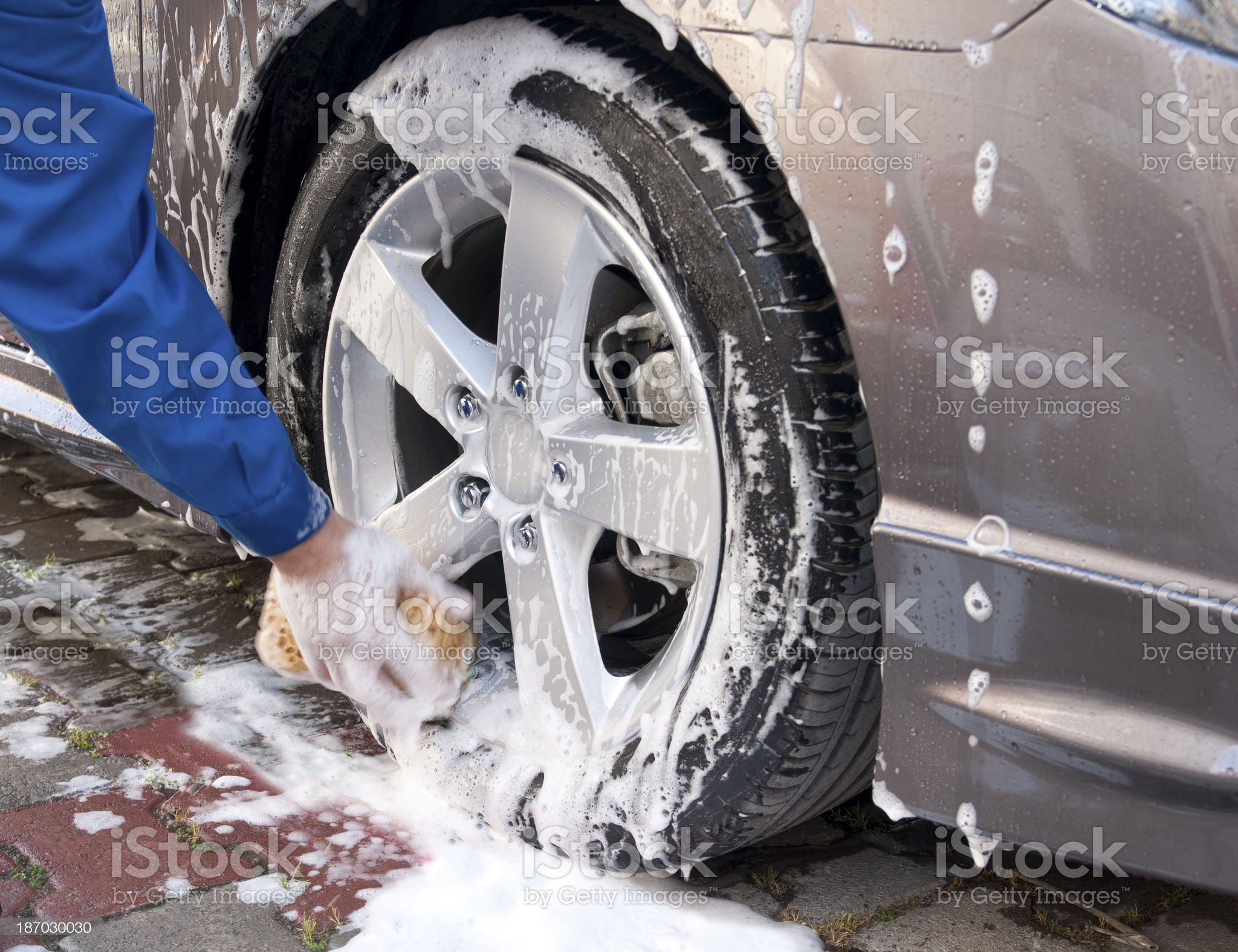 Hand Car Wash Sponge royalty-free stock photo