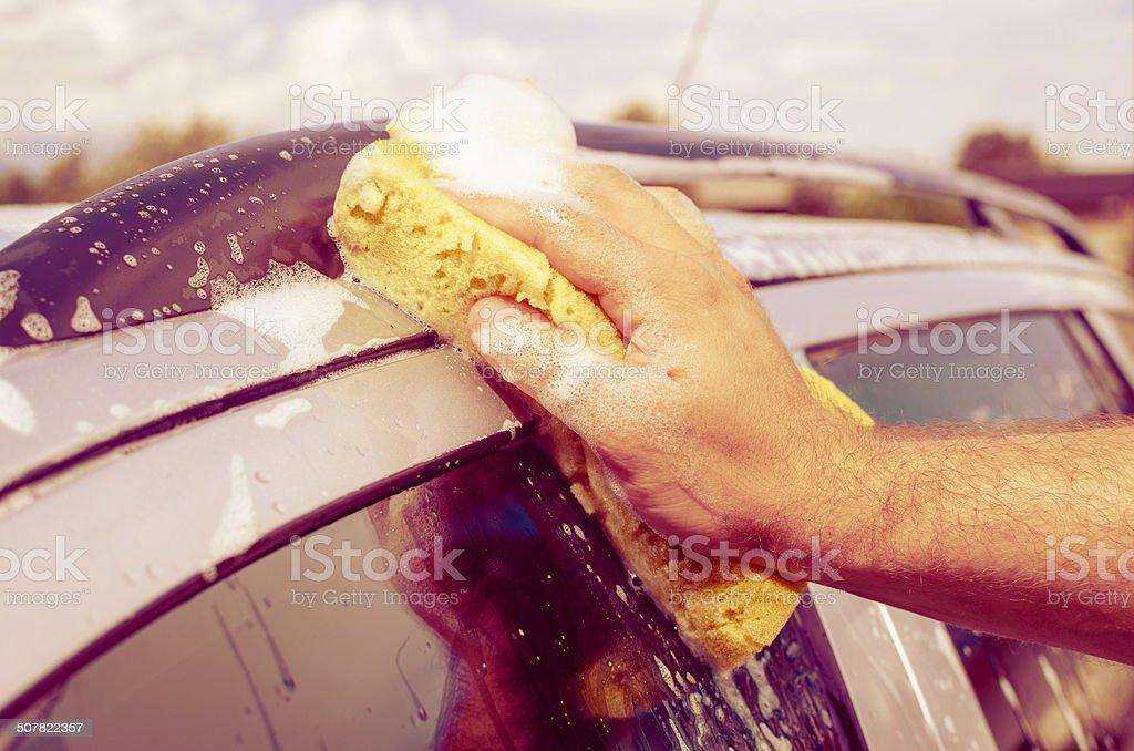 Hand Car Wash Sponge stock photo