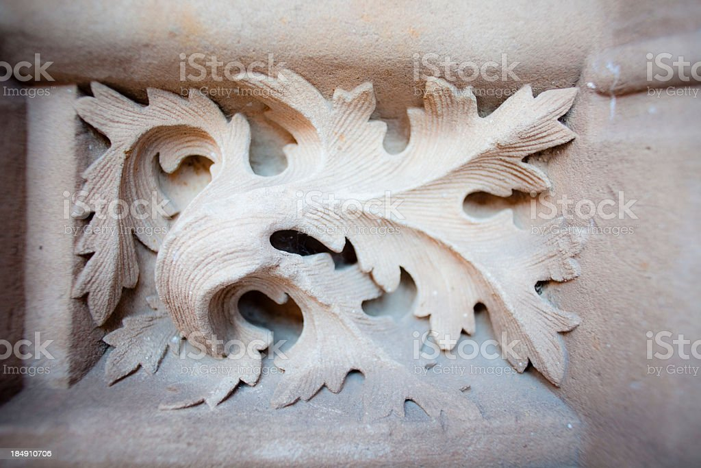 hand carved leaf in Salamanca cathedral royalty-free stock photo