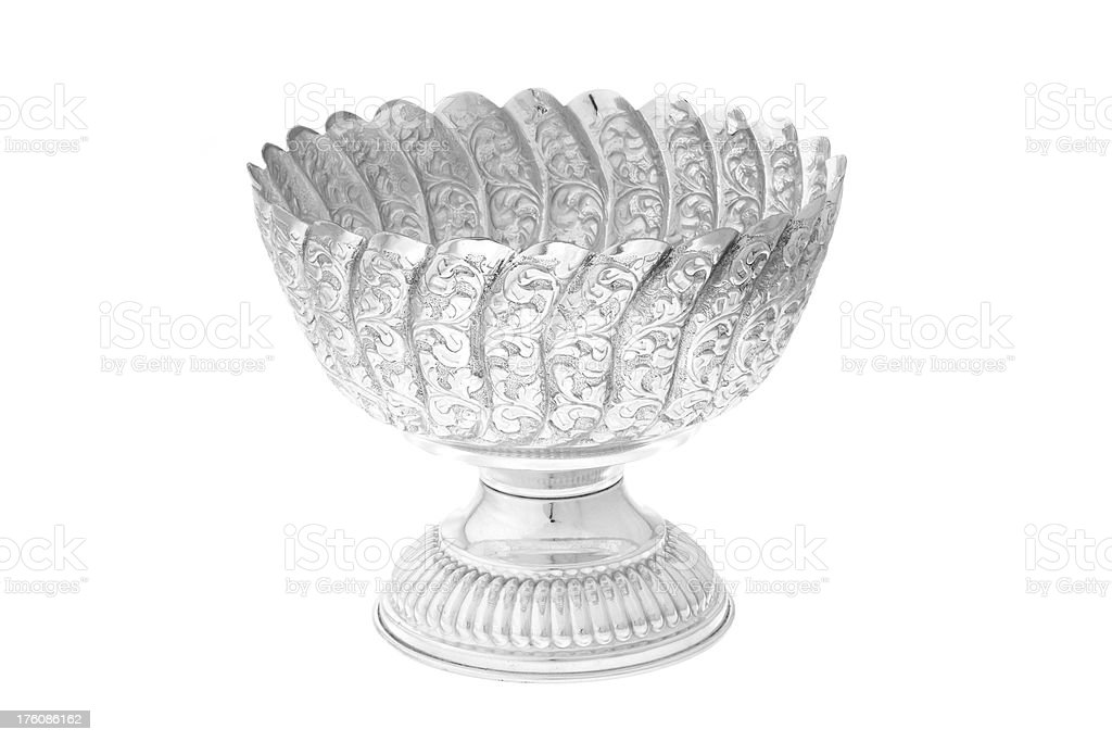 Hand carved Silver Bowl royalty-free stock photo