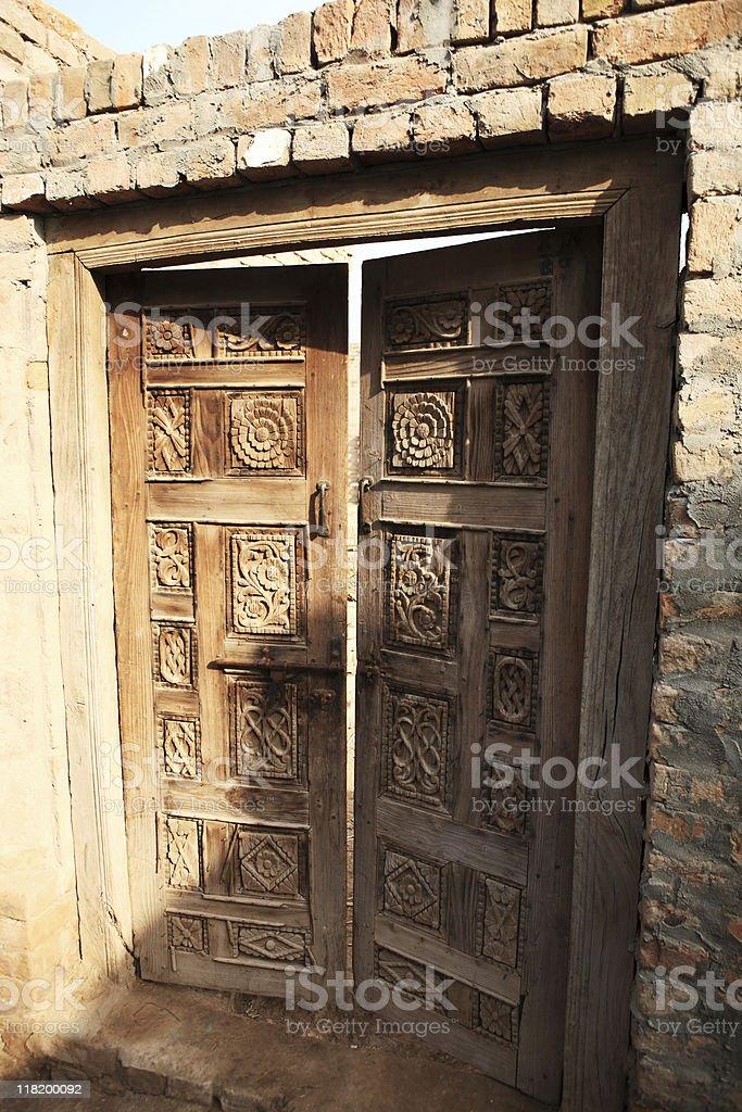 Hand Carved Wood panel Door stock photo
