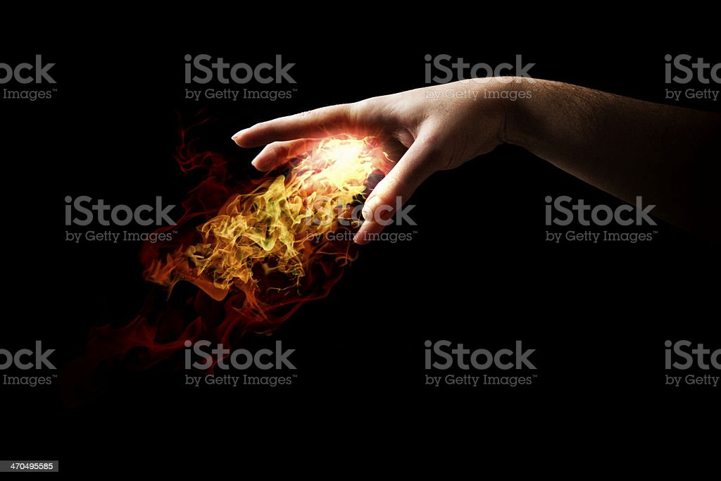 Hand Casting Fire Spell stock photo