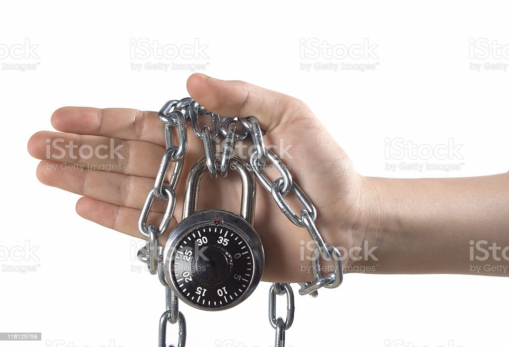 Hand chained and locked stock photo
