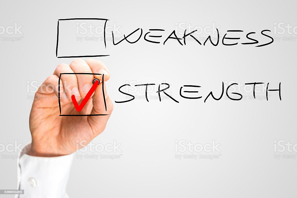 Hand Checking Box Next to the Word Strength stock photo
