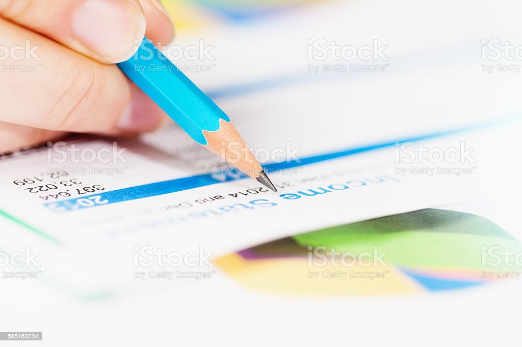 Hand checking Income Statement with pencil, pie chart in background stock photo