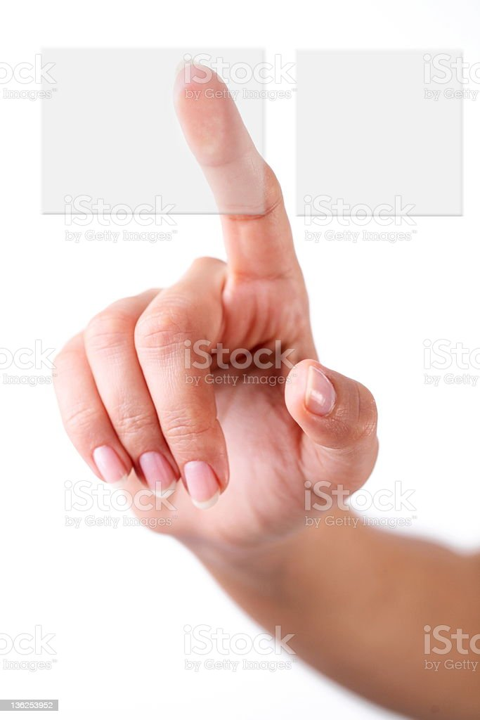 hand choosing a button royalty-free stock photo