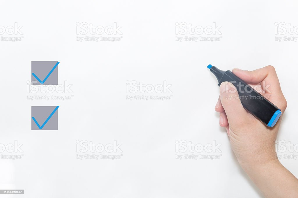 Hand choosing one of two options stock photo
