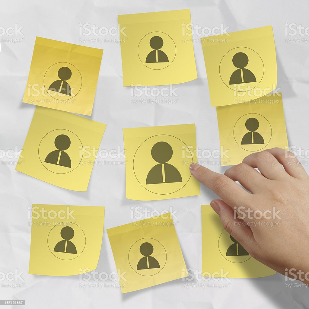 hand choosing people icon on sticky note with crumpled paper royalty-free stock photo