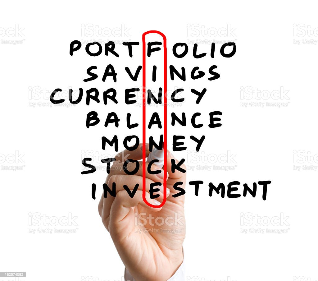 A hand circling the word finance in red stock photo