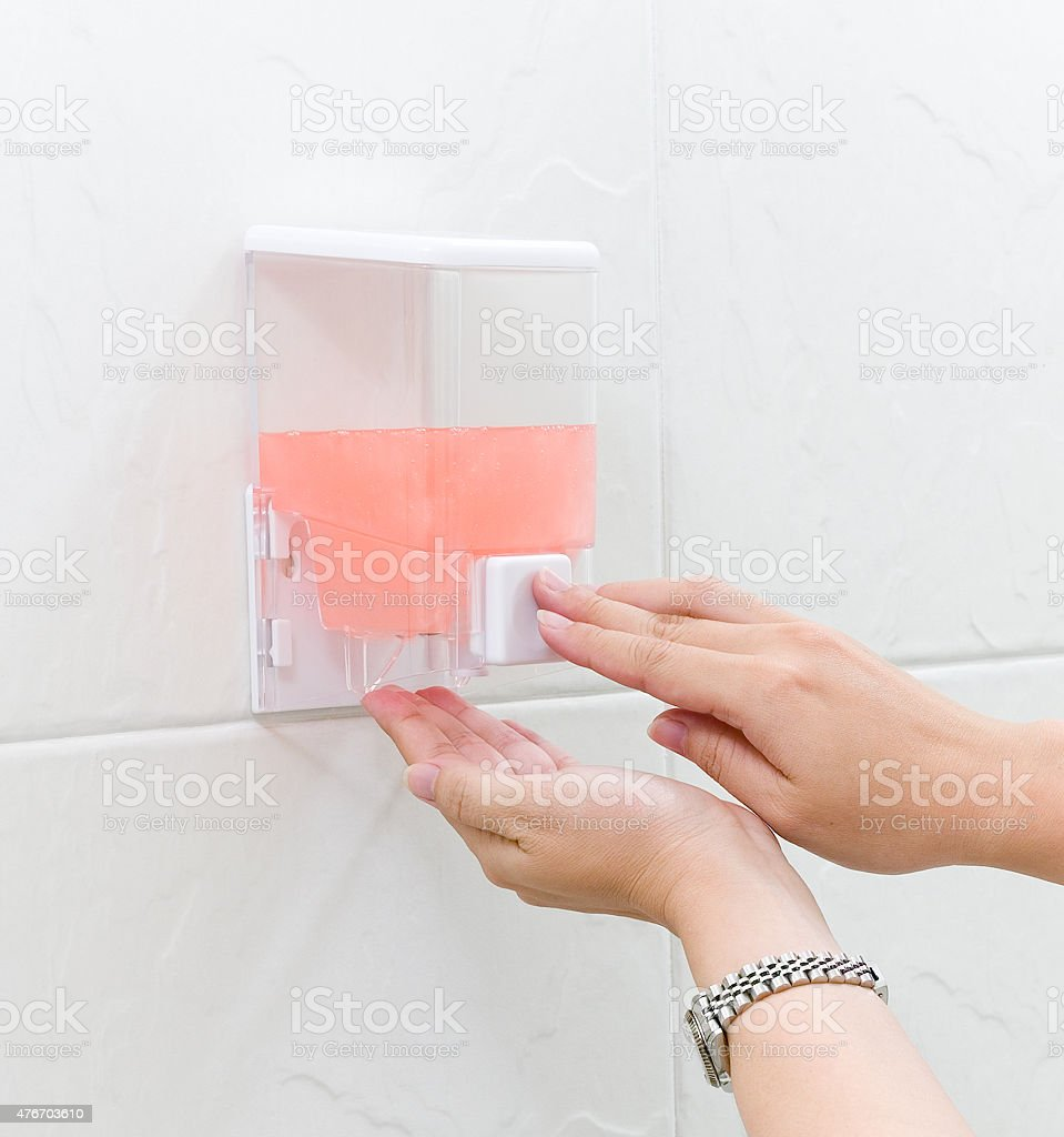 Hand cleaning gel in box ready to use by pumping stock photo