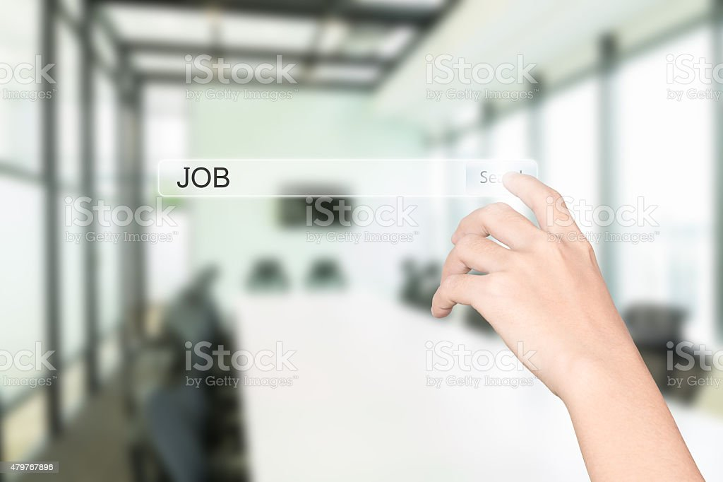 hand click find job interface office interior background stock photo