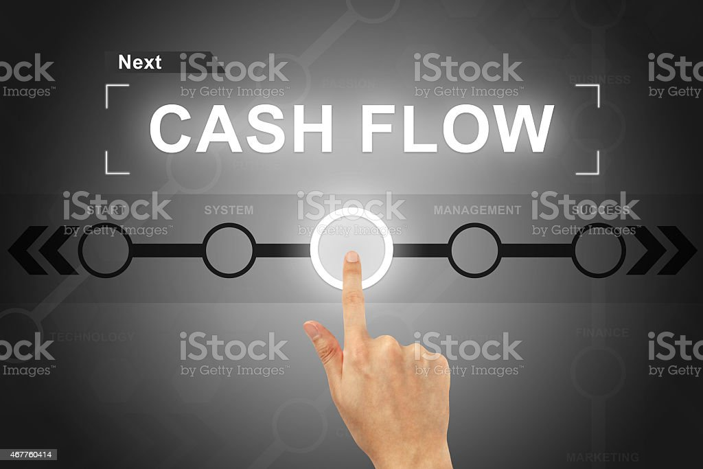 hand clicking cash flow button on a screen interface stock photo