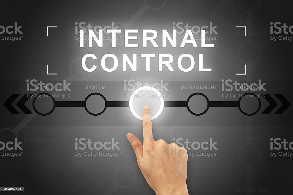 hand clicking internal control button on a screen interface stock photo