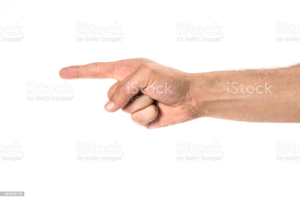 Hand clicking or pressing something stock photo