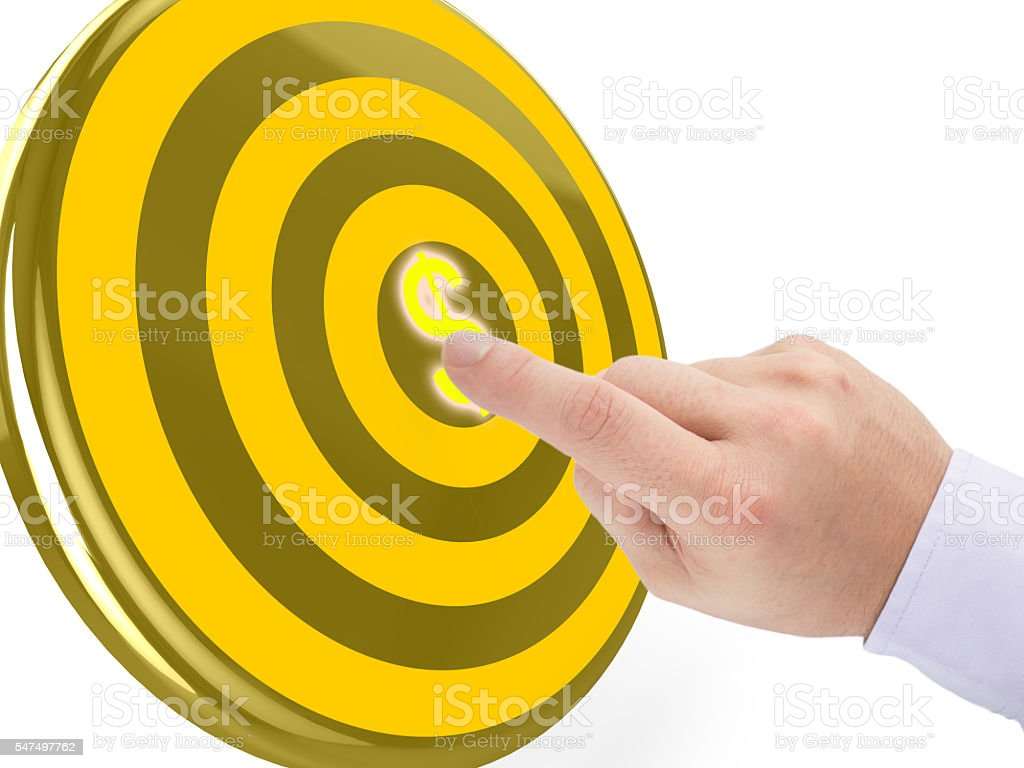 Hand clicks on the center of a golden target stock photo
