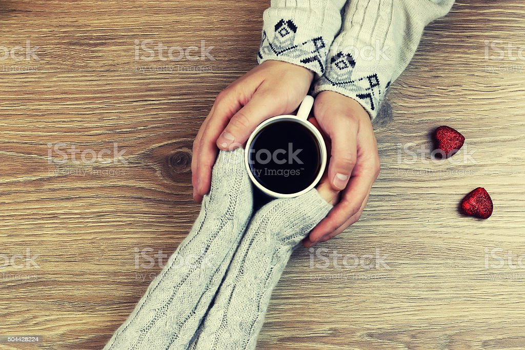 hand coffee background couple stock photo