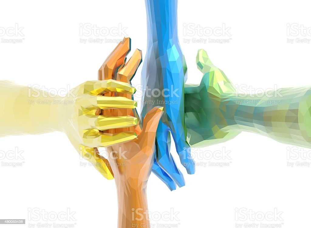 Hand coming together stock photo