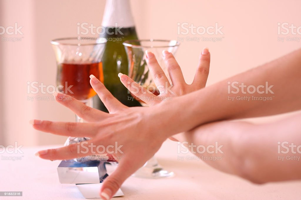 Hand concepts. Temperance stock photo