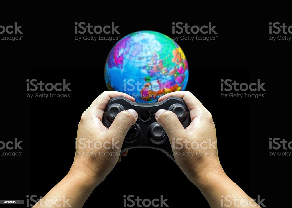 hand control world with game controler stock photo