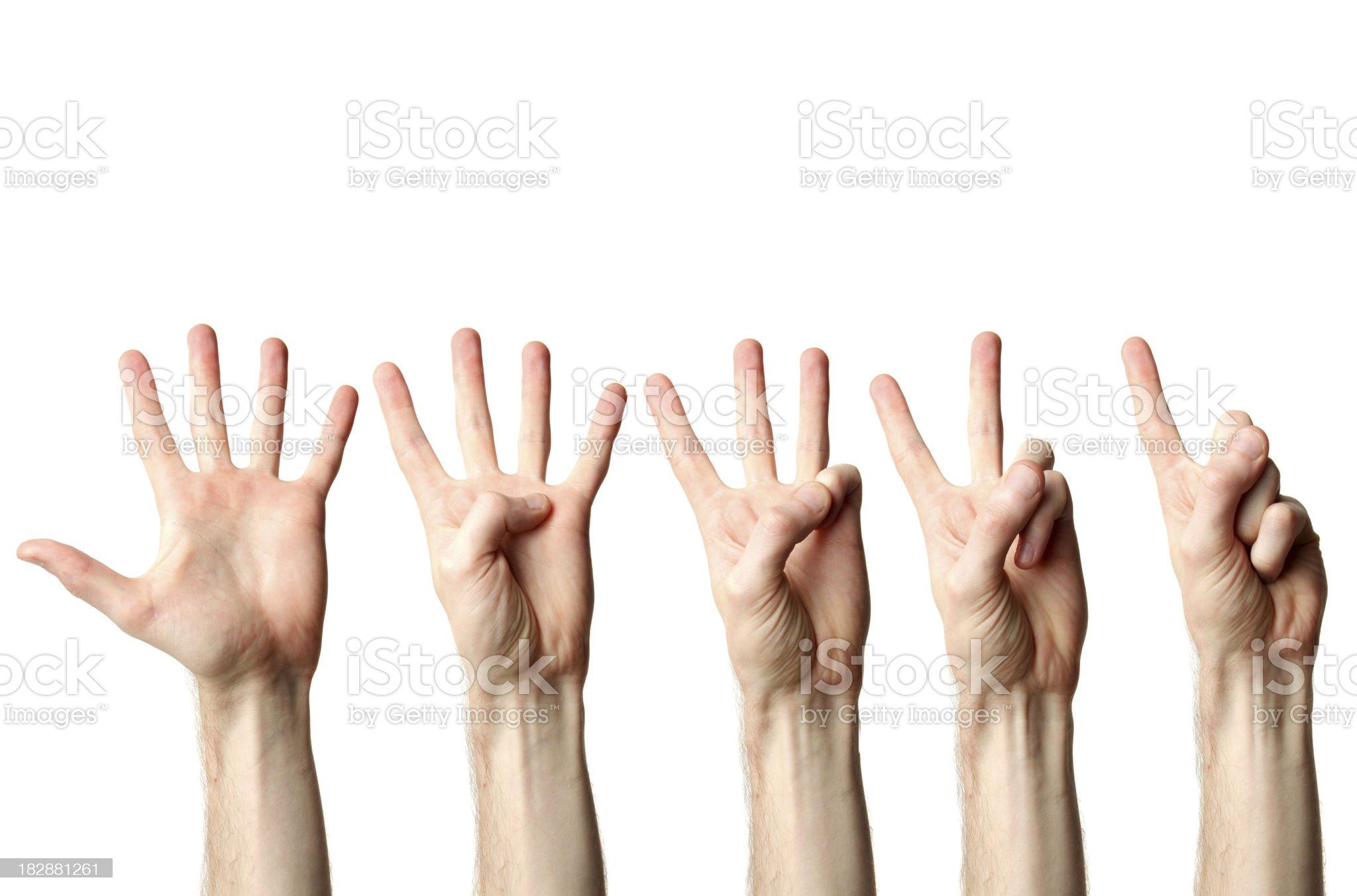 Hand countdown royalty-free stock photo