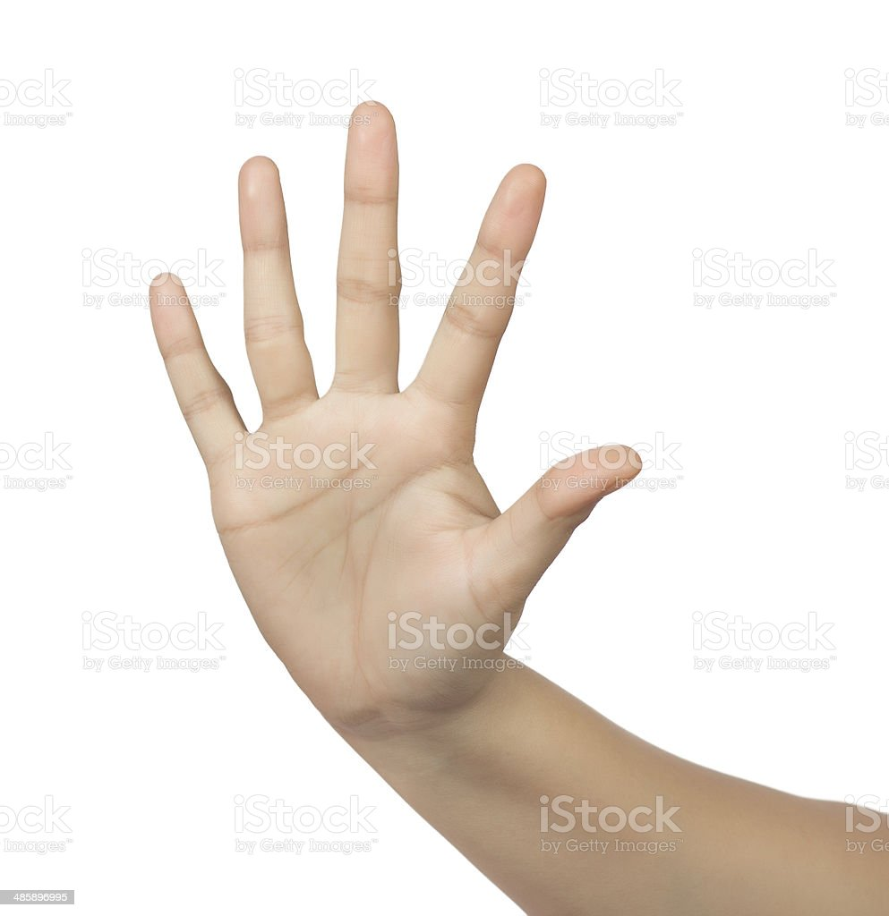 hand counting - five fingers stock photo