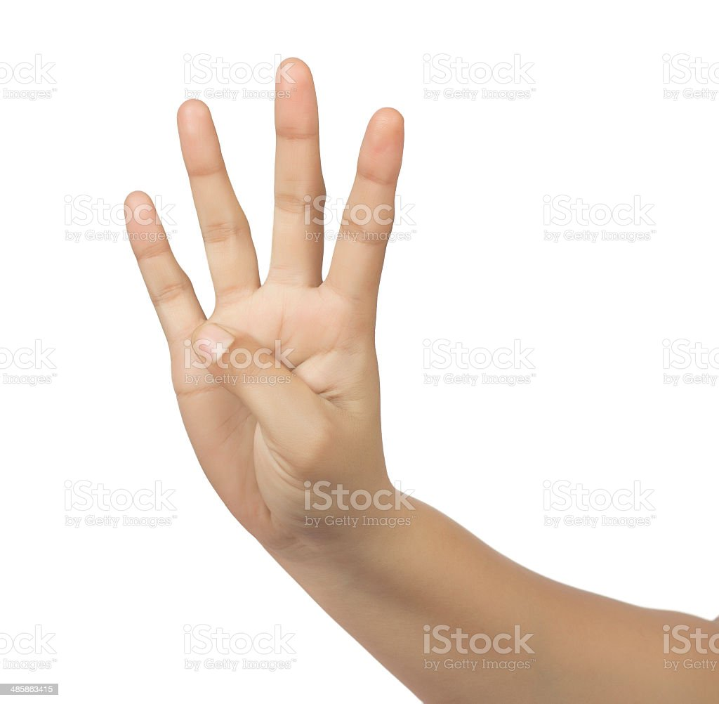 hand counting - four fingers stock photo
