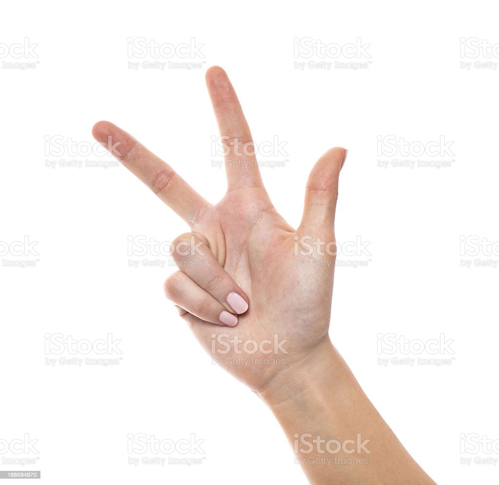hand counting - three fingers isolated on white royalty-free stock photo