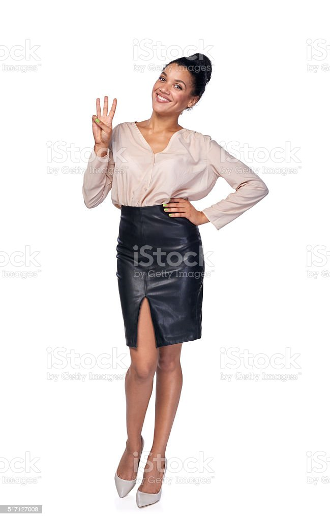 Hand counting - three fingers. stock photo