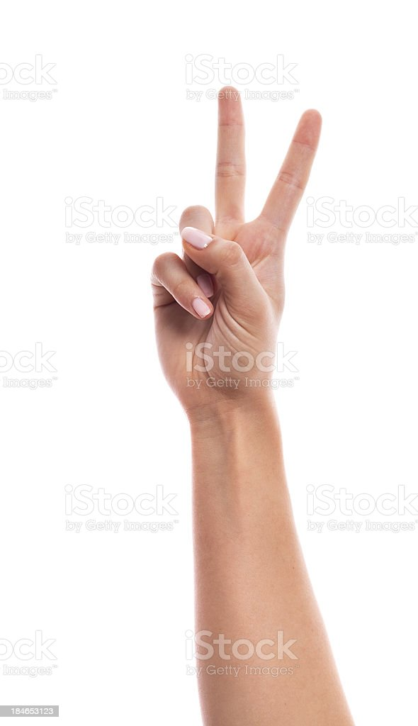 hand counting - two fingers stock photo