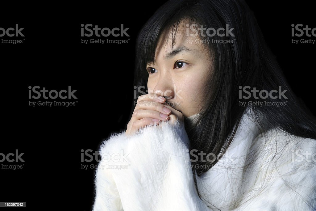 Hand Covering Mouth Woman - XLarge royalty-free stock photo