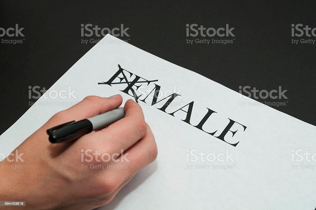 Hand Crossing Out A Female To Male Sign stock photo