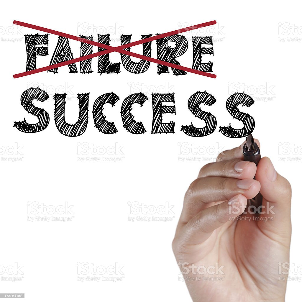 hand crossing out failure and writing success royalty-free stock photo