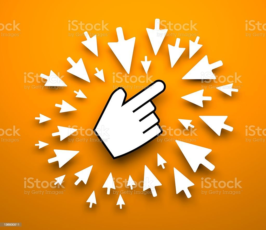 Hand cursor background stock photo