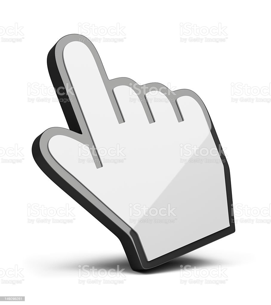 3D Hand cursor in white on white background stock photo