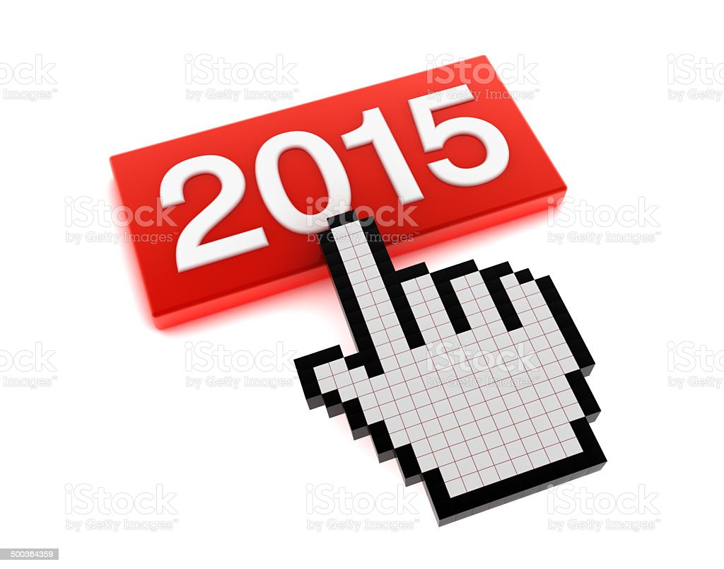 Hand Cursor on 2015 Button royalty-free stock photo