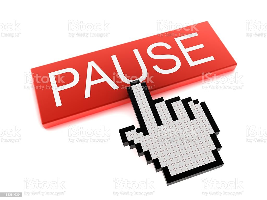 Hand Cursor on Pause Button stock photo