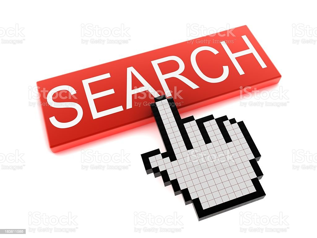 Hand Cursor on Search Button royalty-free stock photo